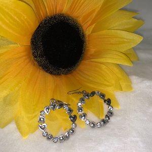 Hoop heart earrings with embellishments